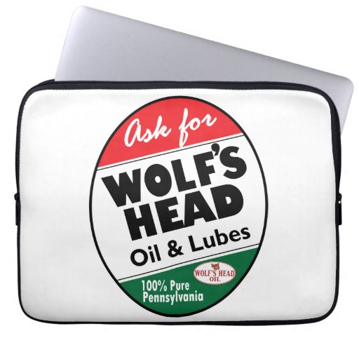 Wolf 39 S Head Motor Oil Vintage Sign Reproduction Laptop Sleeve Zazzle