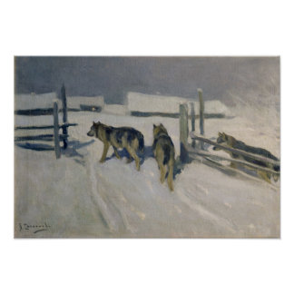 Wolfs, la noche del invierno, c.1910 poster