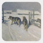 Wolfs, la noche del invierno, c.1910 calcomanía cuadradas