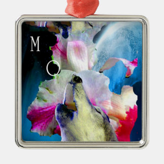 "WOLFS SINGS ""OM "" ON WILD ORCHID PREMIUM SQUARE CHRISTMAS ORNAMENTS"