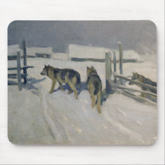 Wolfs, Winter Night, c.1910 Mouse Pad