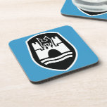 Wolfsburg Coat of Arms (black white) Beverage Coasters