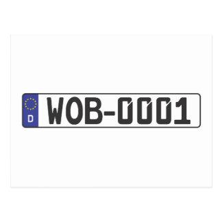 Wolfsburg License Plate Postcard