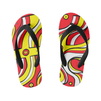 """""""Wolle"""" Adult Flip Flops Yellow Red"""