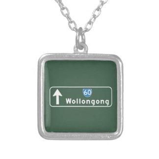 Wollongong, Australia Road Sign Custom Necklace