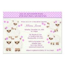 Wolly Sheeps LAMB Baby Shower invitation lavender