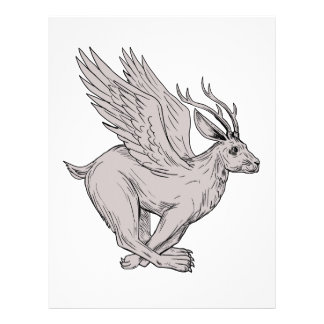 Wolpertinger Running Side Drawing Letterhead