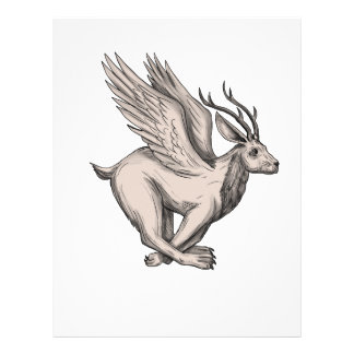 Wolpertinger Running Side Tattoo Letterhead