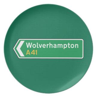 Wolverhampton señal de tráfico BRITÁNICA Platos De Comidas