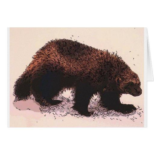 Wolverine camina en slope.jpg nevoso tarjeta de felicitación