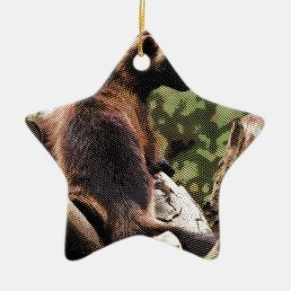 Wolverine grabado adorno navideño de cerámica en forma de estrella