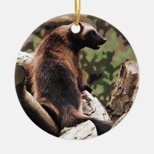 Wolverine grabado adorno navideño redondo de cerámica