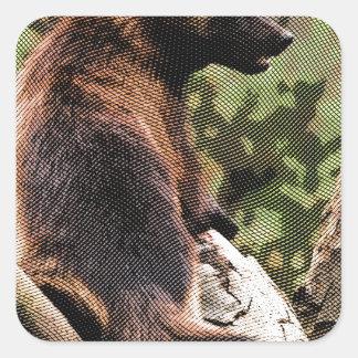 Wolverine grabado pegatina cuadrada