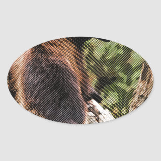 Wolverine grabado pegatina ovalada