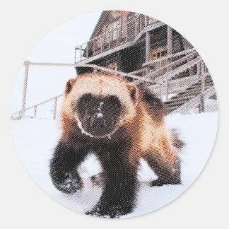 Wolverine grabado pegatina redonda