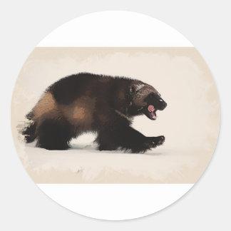 Wolverine walking classic round sticker