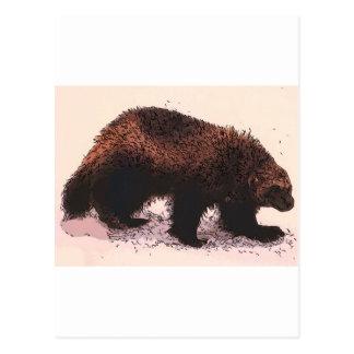 Wolverine Walks on snowy slope.jpg Postcard