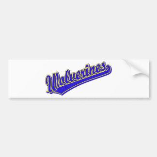 Wolverines script logo in blue and gold bumper sticker