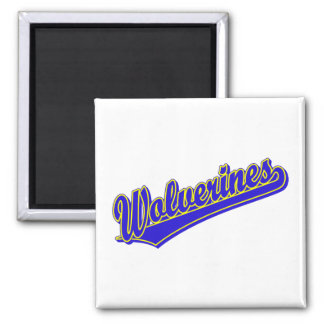 Wolverines script logo in blue and gold magnet