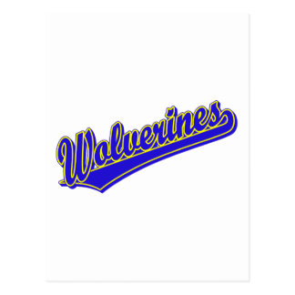 Wolverines script logo in blue and gold postcard