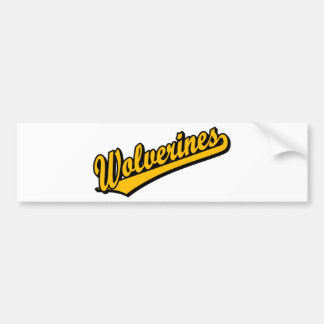 Wolverines script logo in orange bumper sticker