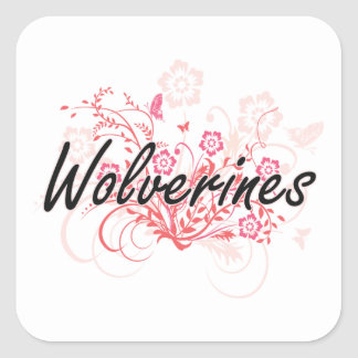 Wolverines with flowers background square sticker