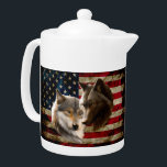 """Wolves  American Flag Teapot<br><div class=""""desc"""">wolf animals animal canis , lupus mammal beast dog , canine wolves wolfs Grey , dark american flag black , art brown two painting , head wildlife creature face , grey nature arctic wolf , animals animal canis lupus,  mammal beast dog , canine wolves wolfs</div>"""