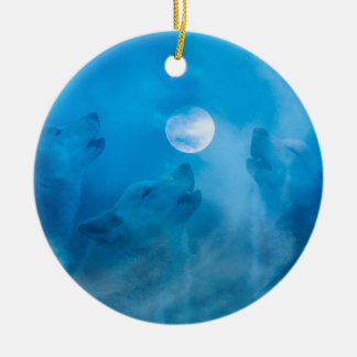 Wolves and Moon Native American Gifts Ceramic Ornament
