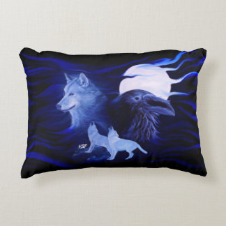 Wolves and Raven with full moon Accent Pillow