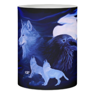 Wolves and Raven with full moon Flameless Candle