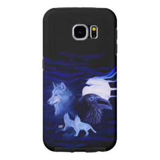 Wolves and Raven with full moon Samsung Galaxy S6 Case