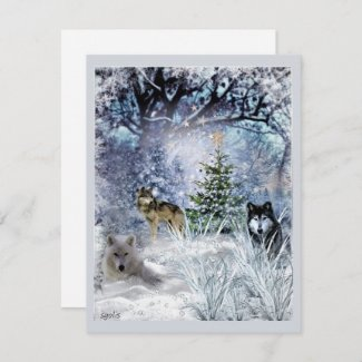 Wolves at Christmas a Winter Wonderland Flat Card
