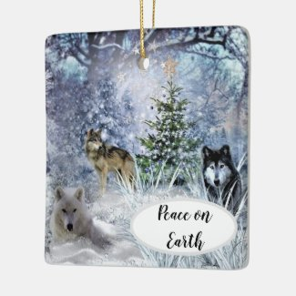 Wolves at Christmas a Winter Wonderland Ornament