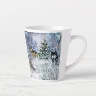 Wolves at Christmas Collage Art Latte Mug