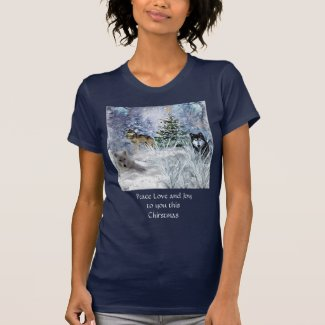 Wolves at Christmas Peace Love Joy Navy T-Shirt