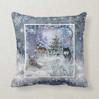 Wolves at Christmas Winter Snowflake Throw Pillow
