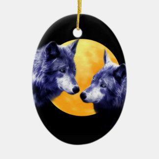 Wolves at full moon ceramic ornament