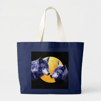 Wolves at full moon large tote bag
