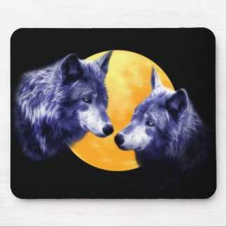 Wolves at full moon mouse pad