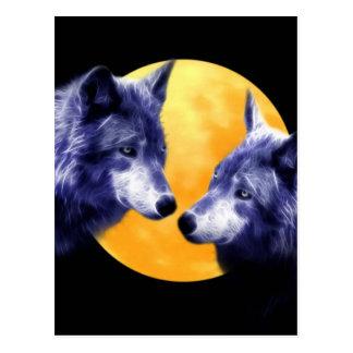 Wolves at full moon postcard