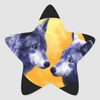Wolves at full moon star sticker