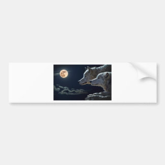 Wolves at night bumper sticker