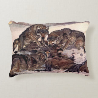 Wolves by Winifred Austen, Vintage Wild Animals Accent Pillow