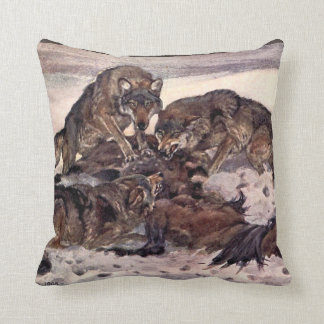 Wolves by Winifred Austen, Vintage Wild Animals Pillow
