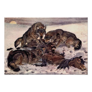 Wolves by Winifred Austen, Vintage Wild Animals Poster