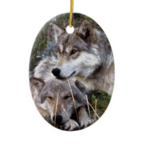Wolves ~ Digital Oil Paining Ceramic Ornament
