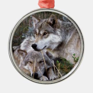 Wolves ~ Digital Oil Paining Metal Ornament