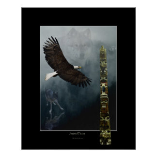 Wolves, Eagle & Totem Mystical Art Poster