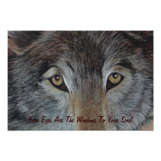 wolves eyes wildlife art painting with slogan poster