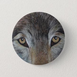 wolves eyes wildlife painting original realist art pinback button